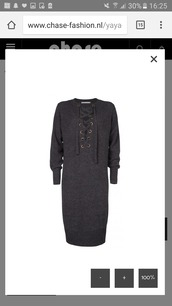 dress,lace up jumper,lace up dress,grey dress,fashion