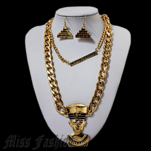 Free Shipping Hip Hop Celebrity Style Fashion Chain Metal Egyptian Nefertiti necklace and Earrings Jewelry Set-in Jewelry Sets from Jewelry on Aliexpress.com