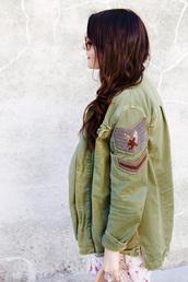 jacket,tumblr,army green jacket,long hair,brunette,parka,skirt,floral,floral skirt