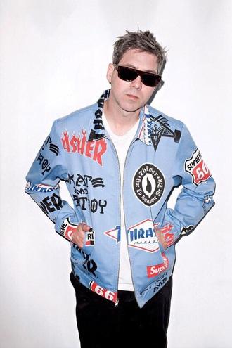jacket baby blue thrasher skateboard