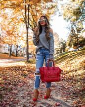 jeans,ripped jeans,high waisted jeans,handbag,leather bag,pumps,turtleneck,turtleneck sweater,off the shoulder sweater,sunglasses