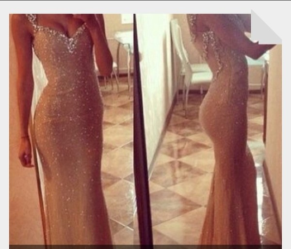 dress nude long prom dress sequin dress sparkle glitter sleeveless