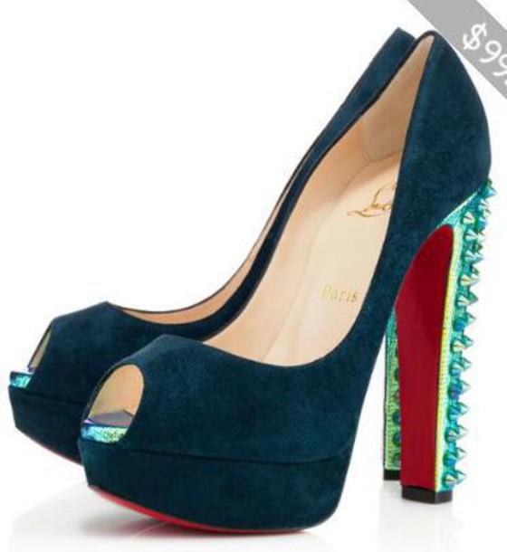 shoes luis vuitton heels navy spiked heels