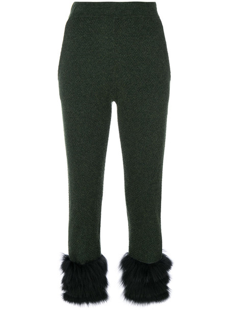 cropped fur fox women green pants