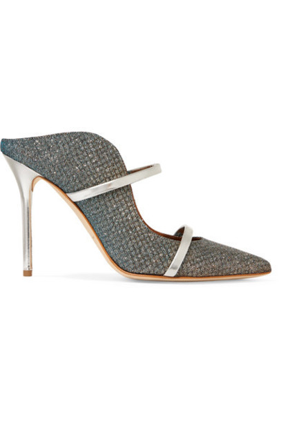 MALONE SOULIERS metallic mesh mules leather blue shoes