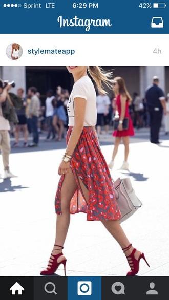 skirt floral chiffon