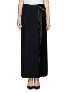 Satin pleat chain maxi skirt