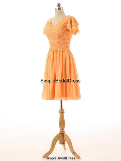 dress, light orange homecoming dresses short bridesmaid dress ...
