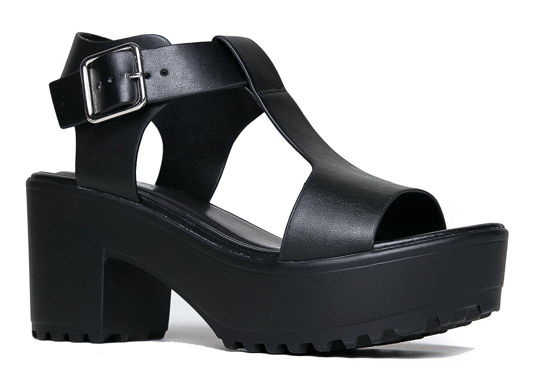 ab6127f5ea Amazon.com | J. Adams Corby Platform Slip On Sandal - Low Heel T-strap -  Peep Toe ...