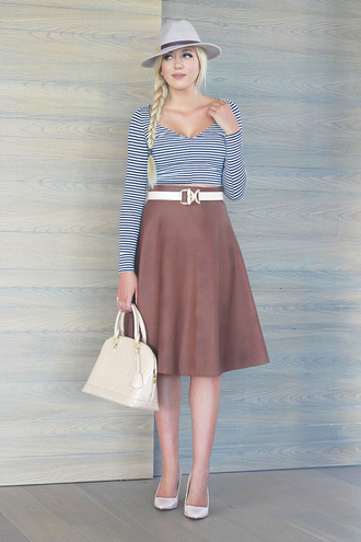 superficial girls blogger hat striped top v neck midi skirt circle skirt handbag waist belt