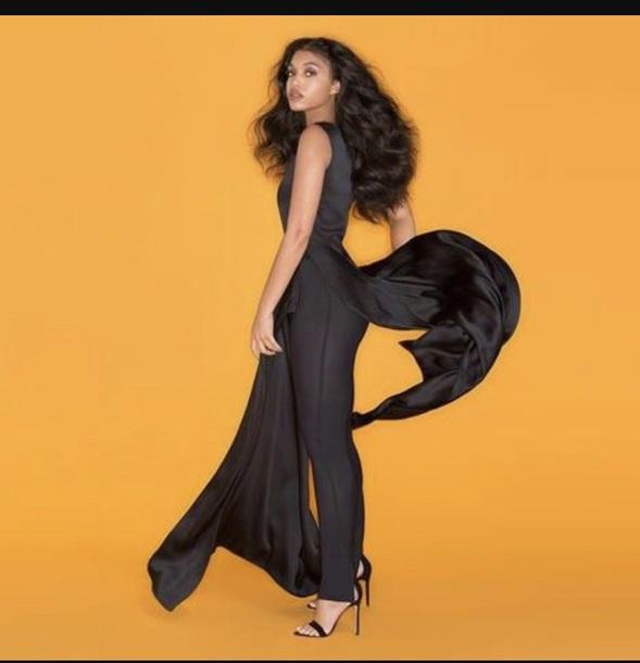 jumpsuit black lori harvey