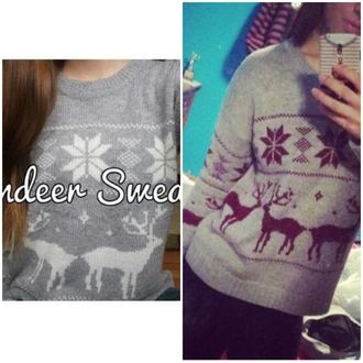 sweater deer grey christmas sweater clothes women fashion knitted sweater snowflake