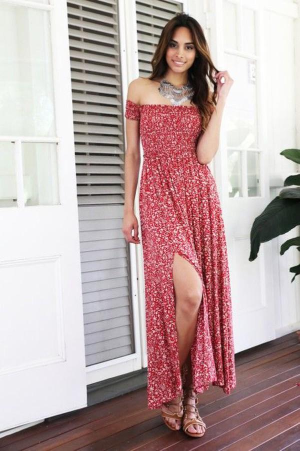 07089d23c7de dress floral red maxi dress off the shoulder slit dress.