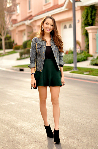 hapa time blogger velvet skirt skater skirt mini skirt denim jacket