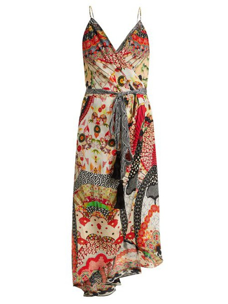 Camilla - Floral Print Silk Crepe Wrap Dress - Womens - Red Multi
