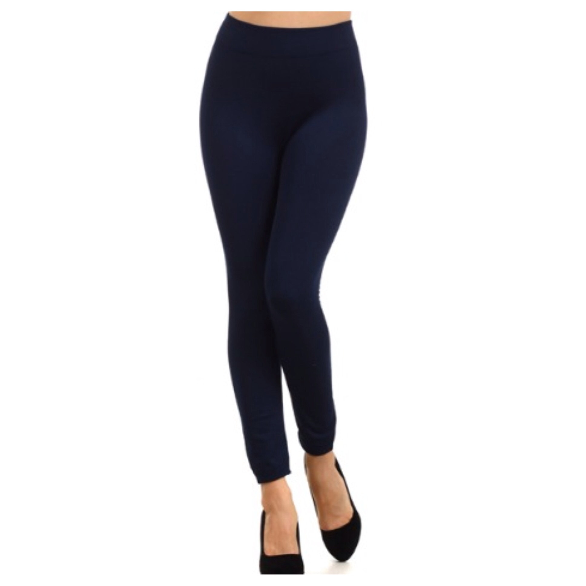 In Style Fleece Lined Solid Navy Leggings