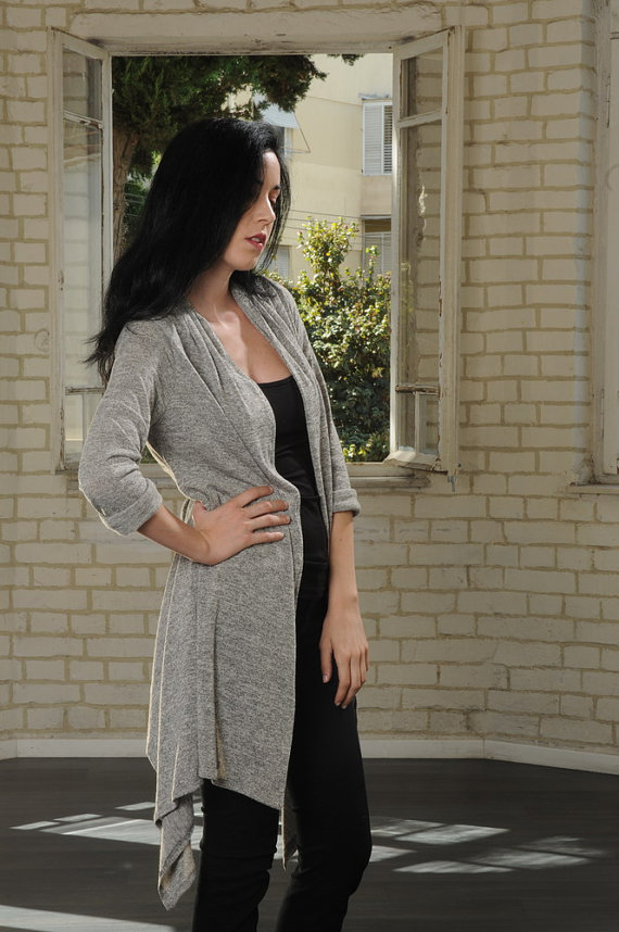 Grey cardigan sweater for women,tunic sweater, cardigan for women, long cardigan sweater, wrap sweater, long wrap cardigan