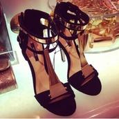 shoes,high heels,black high heels,gold,goldplated,highfashion,chic,fashion killa,black heels,heels