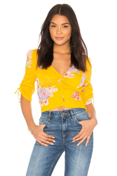 Free People blouse love yellow top