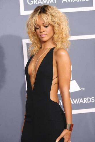 dress black dress rihanna dress backless dress deep v dress