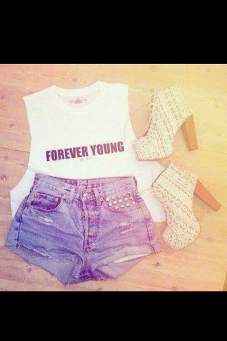 shirt forever young cut offs