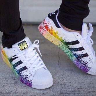 shoes adidas superstar originals rare pride rainbow custom great