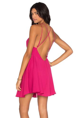 dress mini dress cross mini back pink