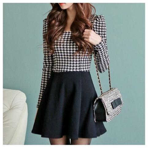 Cute houndstooth long sleeve mini dress