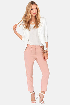 Cute Blush Pants - Cropped Pants - High-Waisted Pants - $55.00