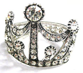 Crown Bracelet Cuff  Silver Gold Rhinestones