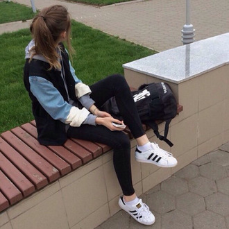 jacket leggings adidas shoes shirt colour block blue grey tumblr outfit fashion style kfashion kstyle indie grunge adidas shoes causal shoes white black adidas originals adidas superstars