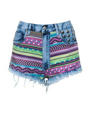 bambam Neon Aztec Print Shorts