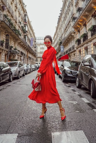 dress red dress sunglasses red sunglasses polka dots midi dress high heels heels red heels bag all red wishlist