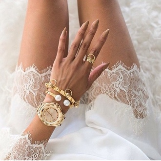 jewels watch gold watch gold jewelry gold ring gold and white dress nails gold nails white dress white prom dress blonde dress rich fashion ring gold bracelet bracelets style studded fashion nude nude nails acrylic nails acrylics gold white white lace dress lace dress lace pearl