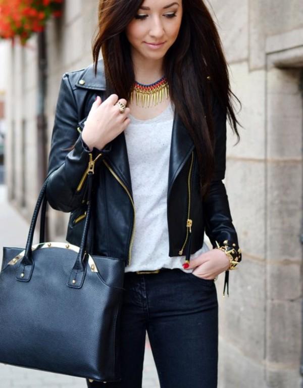Jacket: leather, gold details, fashion, basic - Wheretoget