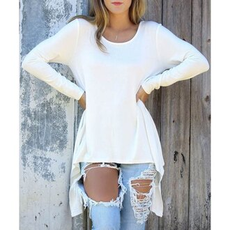 white casual long sleeves trendy hot stylish rose wholesale-dec high low top girl girly girly wishlist white top oversized jeans