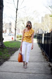 see anna jane,blogger,top,jeans,bag,sunglasses,one shoulder,tote bag,yellow top,spring outfits,white jeans