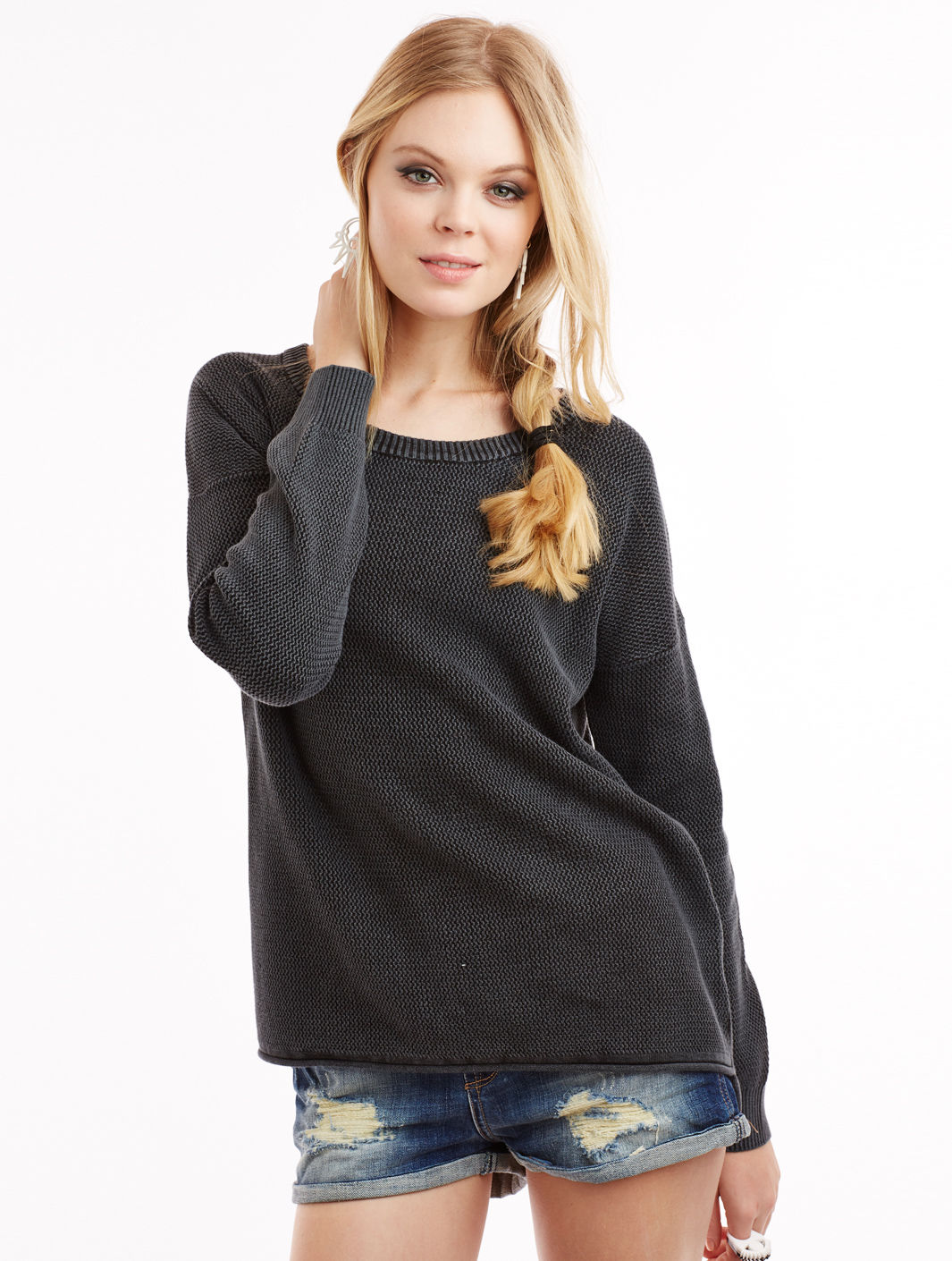 Amira Sweater Dark Grey Round neck pullover - Women's Tops Dr Denim - 35177