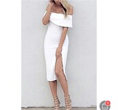 dress,white,off the shoulder,off the shoulder dress,knee length dress,white dress,midi,midi dress,slit,slit dress,bodycon,bodycon dress,party dress,sexy party dresses,sexy,sexy dress,party outfits,sexy outfit,summer dress,summer outfits,spring dress,spring outfits,fall dress,classy dress,elegant dress,cocktail dress,cute dress,girly dress,date outfit,birthday dress,clubwear,club dress,graduation dress,prom dress,homecoming,homecoming dress,wedding dress,wedding clothes,wedding guest,engagement party dress,romantic dress,romantic summer dress,dope