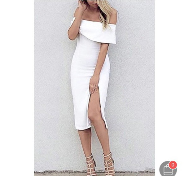 e2024acf71 dress white off the shoulder off the shoulder dress knee length dress white  dress midi midi