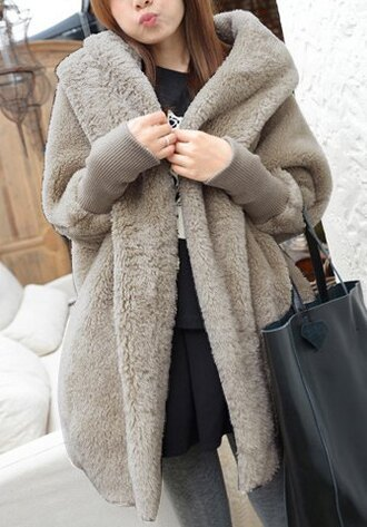coat jacket warm cozy fall outfits winter outfits fashion style grey fur long sleeves