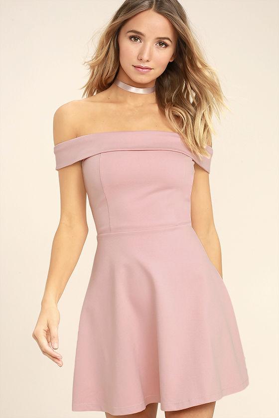 Season of Fun Blush Pink Off-the-Shoulder Skater Dress