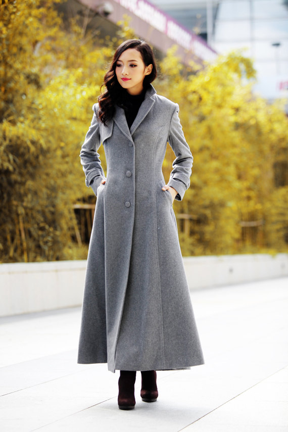Elegant Coat Lapel Collar Women Wool Winter Slim Coat Long Jacket ...