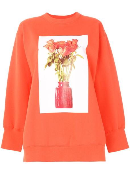 Ports 1961 - open cuff printed sweatshirt - women - Cotton - XS, Yellow/Orange, Cotton
