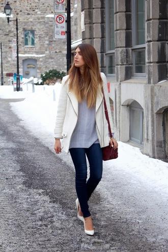 the boho flow blogger white jacket blue shirt coat shirt shoes bag