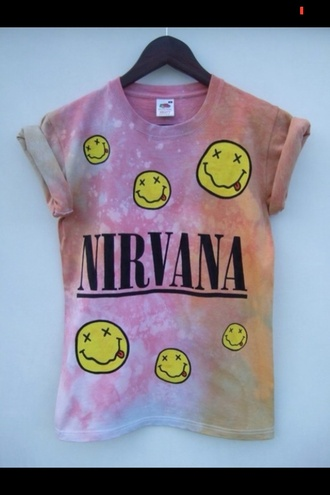 t-shirt shirt nirvana rock sleeveless sleeves smiley face galaxy tie-dye tie dye tie dye shirt