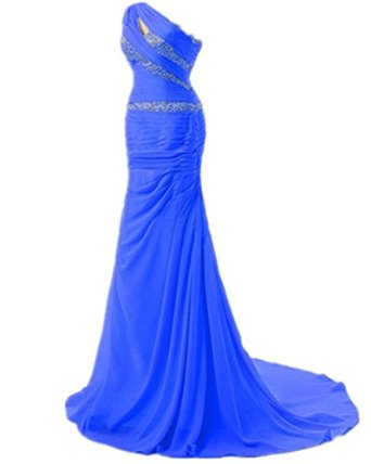 Shoulder long formal prom beaded sheath party dress