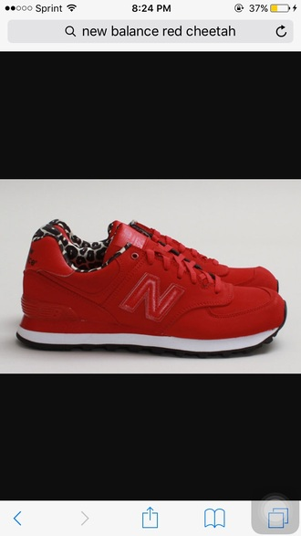 shoes red leopard print new balance