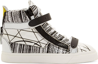 london sneakers white print black black and white shoes