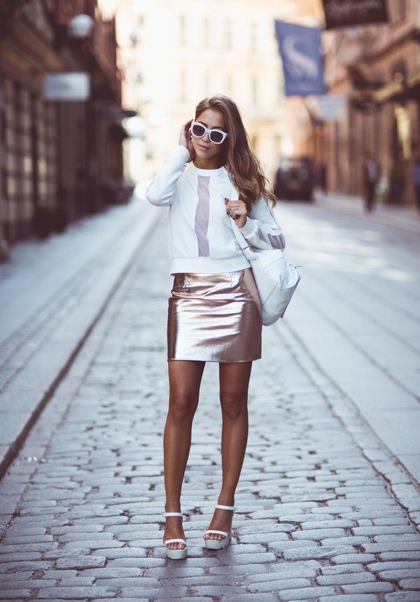 kenza blogger bag skirt shoes sunglasses jewels